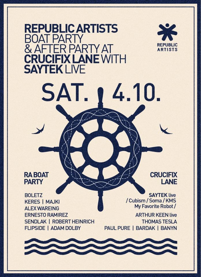 Sobota 04.10 | Republic Artists BOAT PARTY & after party v Crucifix Lane (London Bridge)